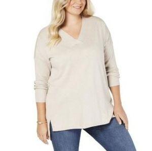 NWT Style & Co V-Neck Cream Tunic Sweater